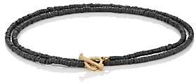 Luis Morais Men's Beaded Double-Wrap Bracelet - Gray