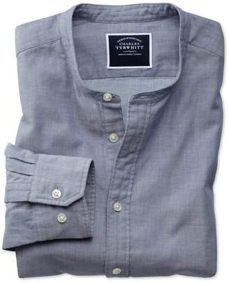 Charles Tyrwhitt Slim Fit Chambray Collarless Cotton Casual Shirt Single Cuff Size Large