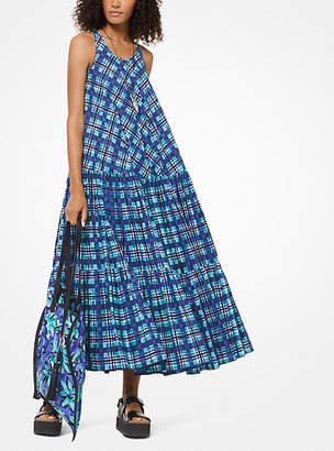 Michael Kors Painterly Madras Poplin Trapeze Dress