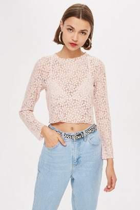 Topshop Petite Lace Lettuce Hem Sweatshirt