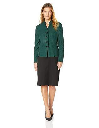 Le Suit Women's 4 Button Stand Collar Tweed Skirt Suit