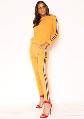 91469a0008 Missy Empire Missyempire Stella Mustard Striped Jumper Loungewear Set