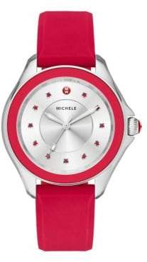 Michele Cape Red Topaz, Stainless Steel& Silicone Strap Watch/Red