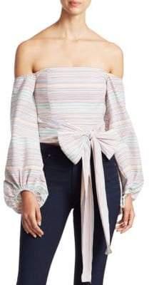 Nicholas Rainbow Stripe Off-The-Shoulder Top