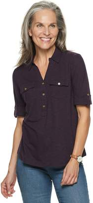 Croft & Barrow Women's Slubbed Roll-Tab Shirt
