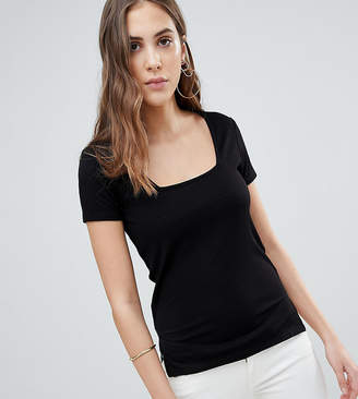 Asos Tall TALL T-Shirt with Square Neck in Fancy Rib