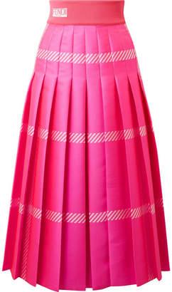 Fendi Pleated Checked Jacquard Midi Skirt - Fuchsia