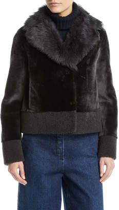Loro Piana Short Shearling Coat w/ Curly Cuff & Hem