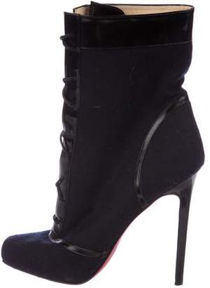 Christian Louboutin Wool Lace-Up Booties