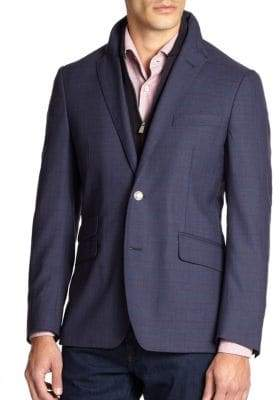 Corneliani ID Plaid Wool Zip-Out Vested Sportcoat