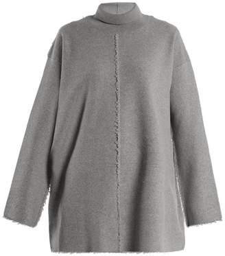 Stella McCartney Roll Neck Raw Seam Wool Sweater - Womens - Grey
