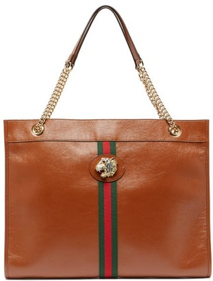 c33df7f4fd05 Gucci Rajah Web Striped Leather Tote Bag - Womens - Tan