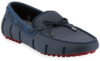 Swims Mesh & Rubber Braided-Lace Boat Shoe, Navy