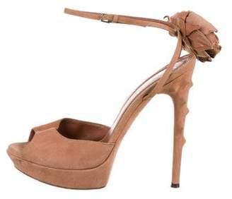 Saint Laurent Flower Embellished Sandals