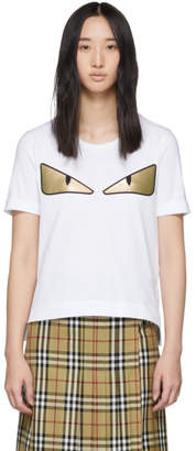 Fendi White Metallic Bag Bugs T-Shirt