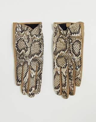 Asos Design DESIGN leather snake gloves with touch screen