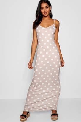 boohoo Polka Dot Strappy Jersey Maxi Dress