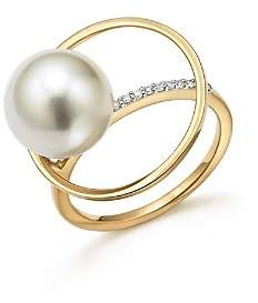MATEO 14K Yellow Gold Pearl Orbit Ring with Diamonds