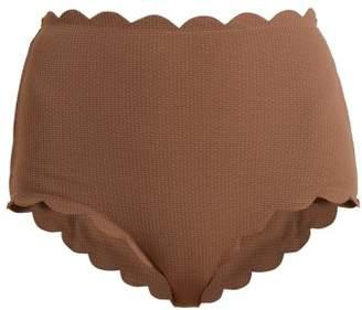 Marysia Swim Santa Monica Scallop Edged Bikini Briefs - Womens - Brown