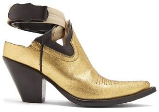 Maison Margiela Cut Out Leather Boots - Womens - Gold