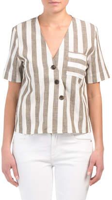 Juniors Linen Striped Top
