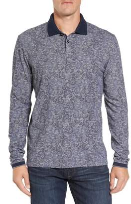 Stone Rose Paisley Long Sleeve Slim Fit Polo