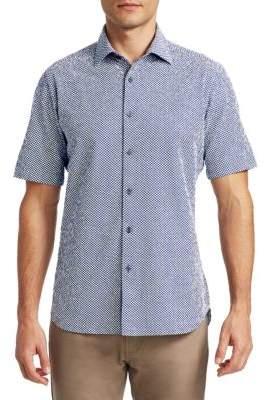 Saks Fifth Avenue COLLECTION Short Sleeve Seersucker Polka Dot Shirt