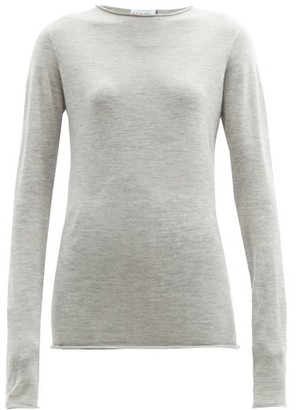 Raey Sheer Raw Edge Crew Neck Cashmere Sweater - Womens - Light Grey