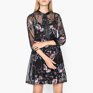 Liu Jo Short, Flared Embroidered Tulle Dress
