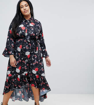 Yumi Plus Belted Floral Midi Dress With Flute Sleeve