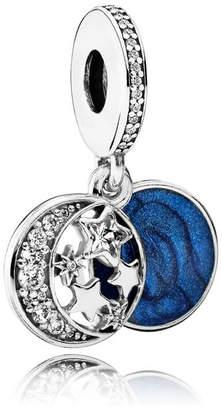 Pandora Vintage Night Sky Pendant Charm - Enamel / Sterling Silver / Blue