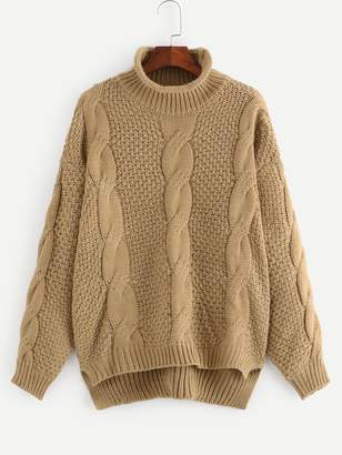 Shein Plus Stepped Hem Cable Knit Sweater