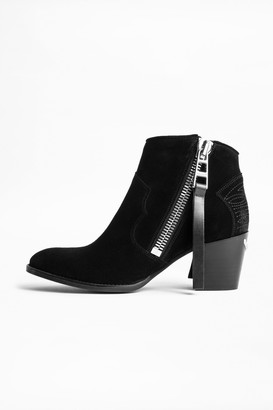 Zadig & Voltaire Molly Suede Zip Ankle Boots