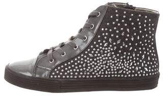 Stuart Weitzman Embellished High-Top Sneakers