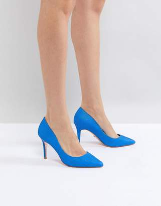 Dune pointed leather pumps in bright blue