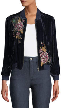 Johnny Was Quito Embroidered Velvet Bomber Jacket
