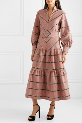 Anna Mason - Vita Metallic Embroidered Cotton-blend Jacquard Midi Dress - Pink