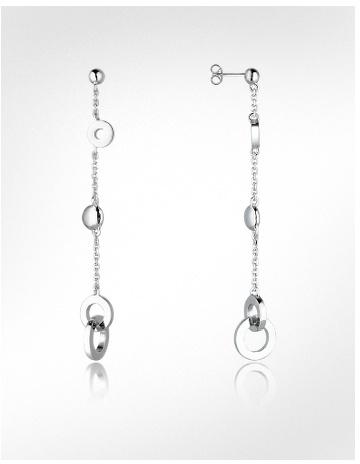 Nuovegioie Sterling Silver Circle Drop Earrings