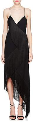 Givenchy WOMEN'S CASCADING-FRINGE WOOL COCKTAIL DRESS - BLACK SIZE 38 FR