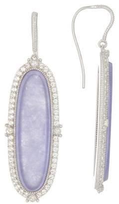 Judith Ripka Sterling Silver Lavender Jade White Topaz Oval Drop Earrings