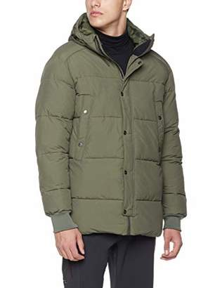 5Oaks Mens Hooded Ribbed Cuffs Exaggerated Puffer Jacket S