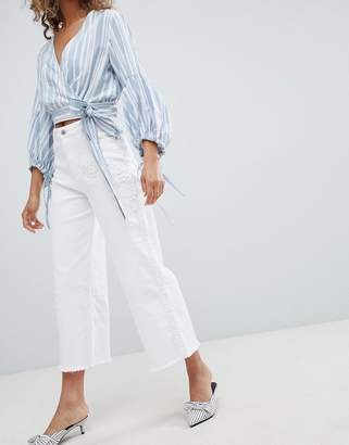 Miss Selfridge Wide Leg Cropped Jeans