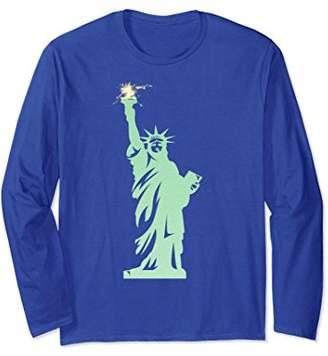 Patriotic Firework Shirt Statue of Liberty Long Sleeve Tee