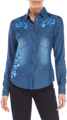 Desigual Embroidered Floral Denim Shirt