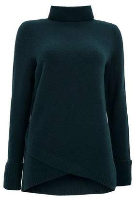 Wallis Forest Green Curve Hem Jumper