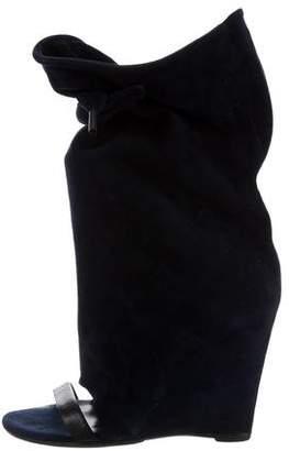 Balenciaga Peep-Toe Wedge Boots