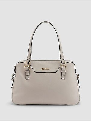 Calvin Klein Calvin Klein Womens Pebble Leather Satchel White