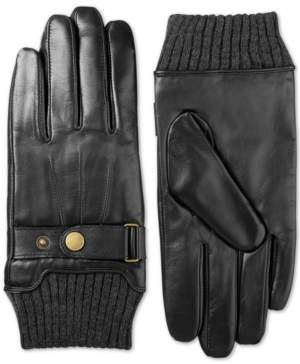 Isotoner Signature Isotoner Men's Leather Snap-Cuff Driving Gloves