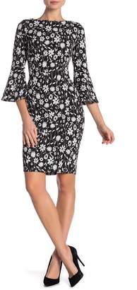 Modern American Designer Floral 3/4 Bell Sleeve Dress