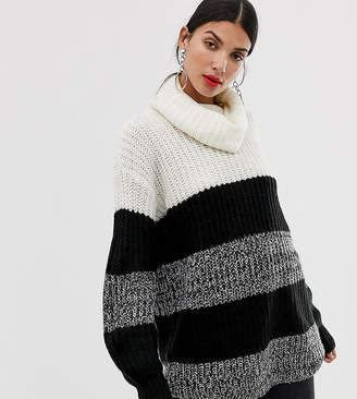 Brave Soul Tall roll neck sweater in wide stripe